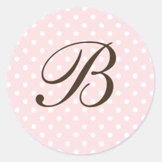 Brown Pink Custom Monogram Polka Dot Favor Round Sticker