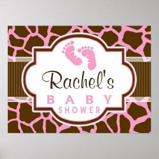 Brown, Pink Giraffe Animal Print Baby Shower
