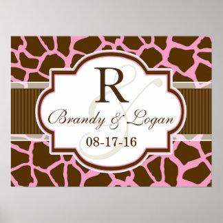 Brown, Pink Giraffe Animal Print Wedding
