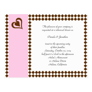 Brown Pink Invitation Reply Post Card