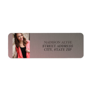 Brown Pink Ombre' Graduation Photo Address Labels