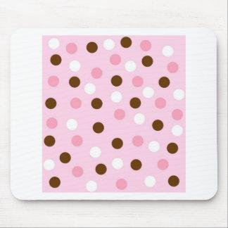 Brown & Pink Polka Dots Mouse Pad