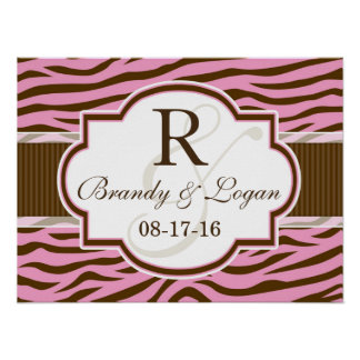 Brown, Pink Zebra Stripes Animal Print Wedding