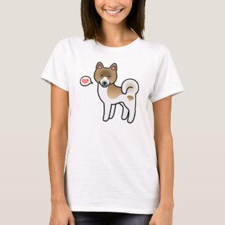 Brown Pinto Akita Breed Dog Cartoon Illustration T-Shirt