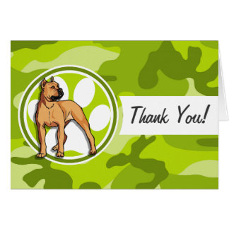 Brown Pit Bull bright green camo camouflage Greeting Cards