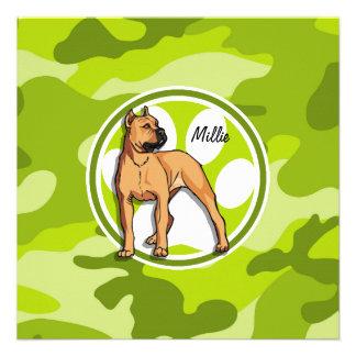 Brown Pit Bull bright green camo camouflage Personalized Invite