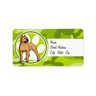 Brown Pit Bull bright green camo camouflage Personalized Address Labels
