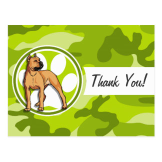 Brown Pit Bull bright green camo camouflage Postcard