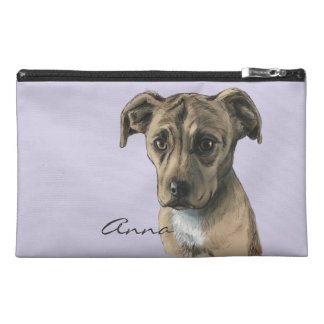 Brown Pit Bull Puppy Drawing Travel Accessories Bags