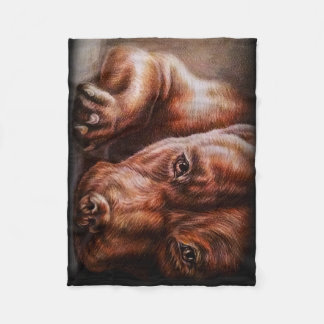 Brown pitbull face drawing of pet portrait dog fleece blanket