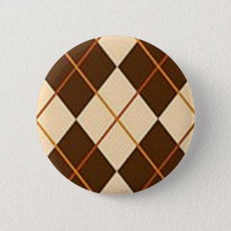 Brown Plaid 2 Inch Round Button