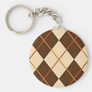 Brown Plaid Basic Round Button Keychain