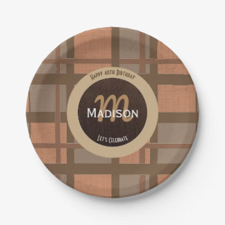 Brown Plaid Birthday w/Personalization 7 Inch Paper Plate
