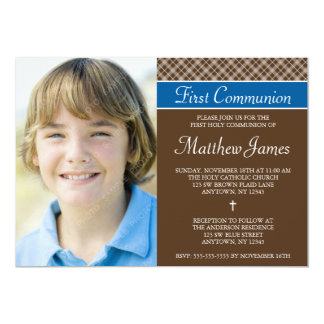 "Brown Plaid Boy Photo First Holy Communion 5"" X 7"" Invitation Card"