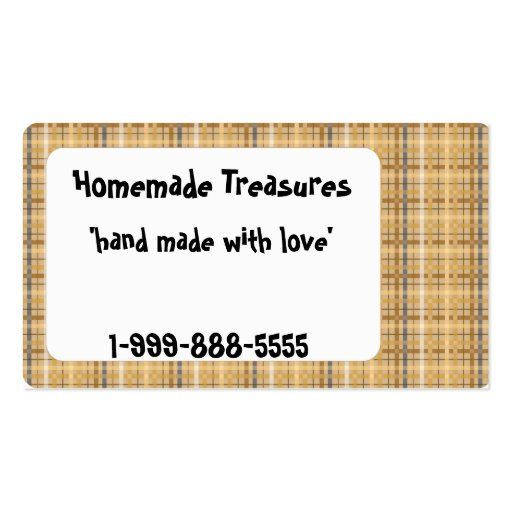 Brown Plaid Business Card Template