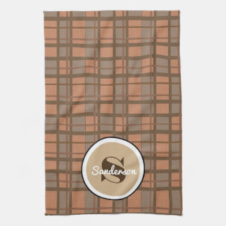 Brown Plaid Contemporary w/Name Kitchen Towel