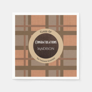 Brown Plaid Graduation Disposable Napkins