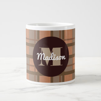 Brown Plaid w/Monogram & Name Giant Coffee Mug