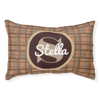 Brown Plaid w/Monogram & Name Pet Bed
