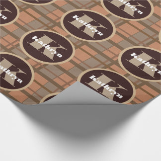 Brown Plaid w/Monogram & Name Wrapping Paper