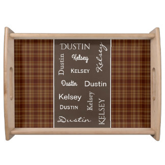 Brown Plaid w/Names Serving Tray