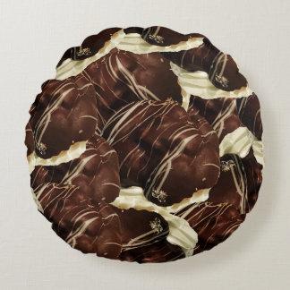 Brown Pod Puffs Round Pillow