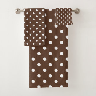 Brown Polka Dot Bath Towel Set