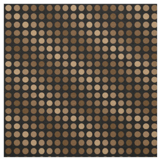 Brown polka dot pattern on a black background. fabric
