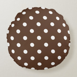 Brown Polka Dot Round Pillow