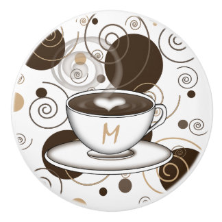 Brown Polka Dots and Swirls Coffee Pattern Ceramic Knob