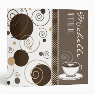 Brown Polka Dots and Swirls Name Coffee Cup Binders