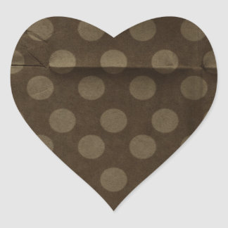 Brown Polka Dots Big with Crease Faded Heart Sticker
