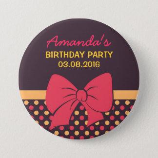 Brown Polka Dots Ribbons and Bows Birthday Button