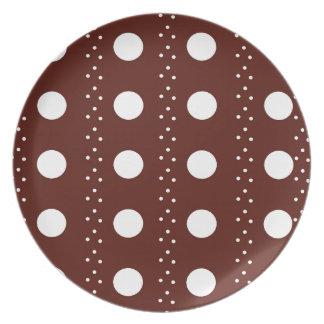 Brown Polkadot Stripes Dinner Plates