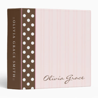 Brown Polkadots/Pink Stripes 3 Ring Binder