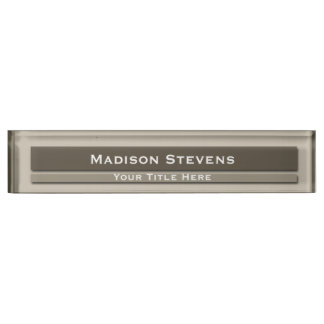 Brown Professional Plain Simple Desk Nameplate