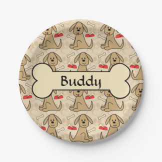 Brown Puppy Dog Design Personalize Paper Plate
