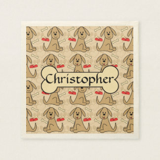 Brown Puppy Dog Graphic Design Personalize Disposable Napkin