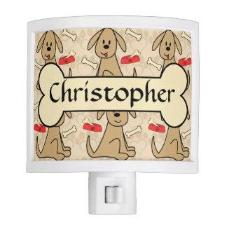 Brown Puppy Dog Graphic Design Personalize Nite Lite