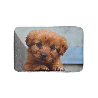 Brown Puppy Portrait Photo Bath Mat