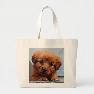 Brown Puppy Portrait Photo Large Tote Bag
