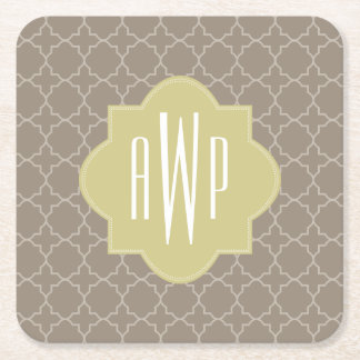 Brown Quatrefoil Monogram Square Paper Coaster