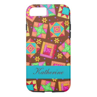 Brown Quilt Art Patchwork Blocks Name Personalized iPhone 7 Case