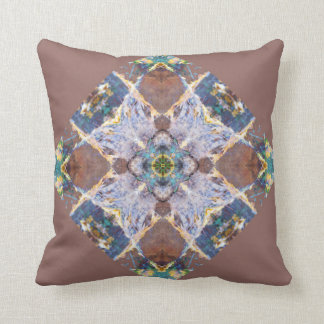 Brown Quilt Block Pillow with solid blue back