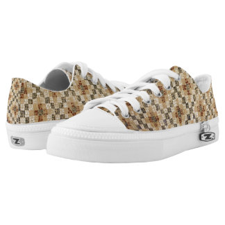 Brown Quilted Pattern Low-Top Sneakers