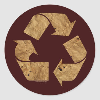 Brown Recycle Sign Round Sticker