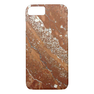 Brown, Red and White Marble Photo iPhone 8/7 Case