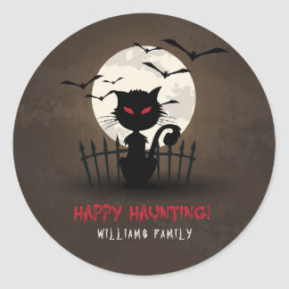 Brown & Red Happy Hunting Scary Cat Round Sticker