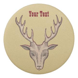 Brown Red Outlined Deer Head Black Etching Antlers Eraser