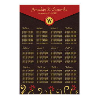 Brown Red Yellow Swirls Table Seating Chart 12